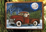 Santa Ornament, Christmas Ornament of Rudolph and Santa in a Pick up Truck, Holiday Santa Wooden