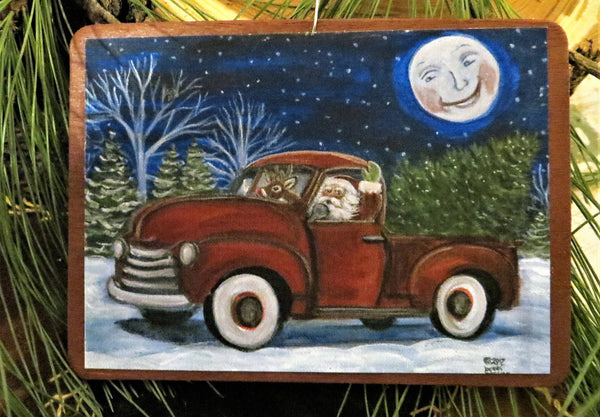 """ Santa and Rudolph in a Pick up Truck""  Wooden Christmas Ornament"