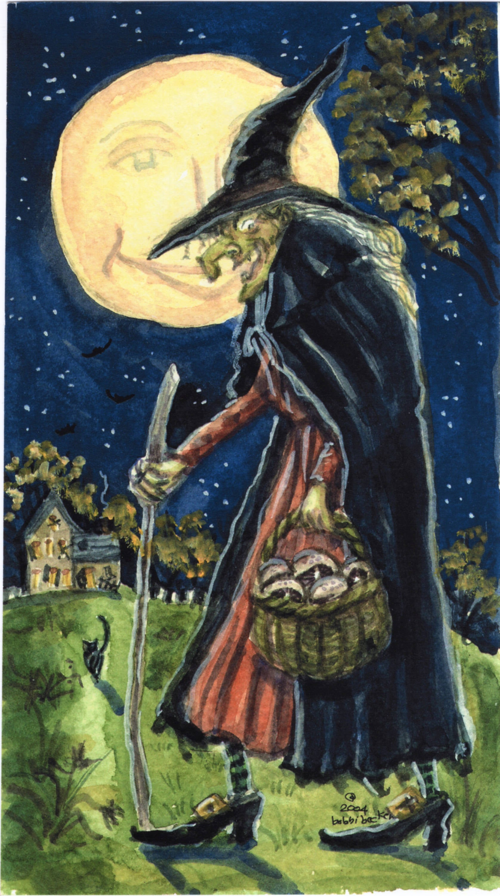 "5""x9"" Halloween Witch Painting Print, Witches, Halloween lover, spooky, scary, original, handmade"