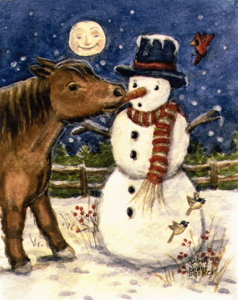"""Frosty with Naughty Pony"" 4x5"