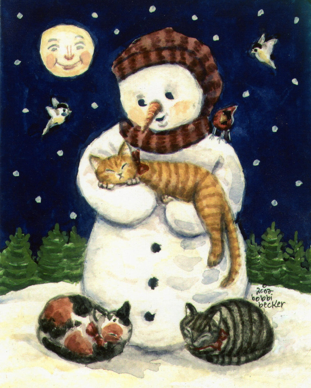 Frosty, Cat, Snowman wall decor, Winter Print