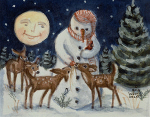 Frosty, Snowman, deer , Winter Print, Winter Wall art, bobbi becker