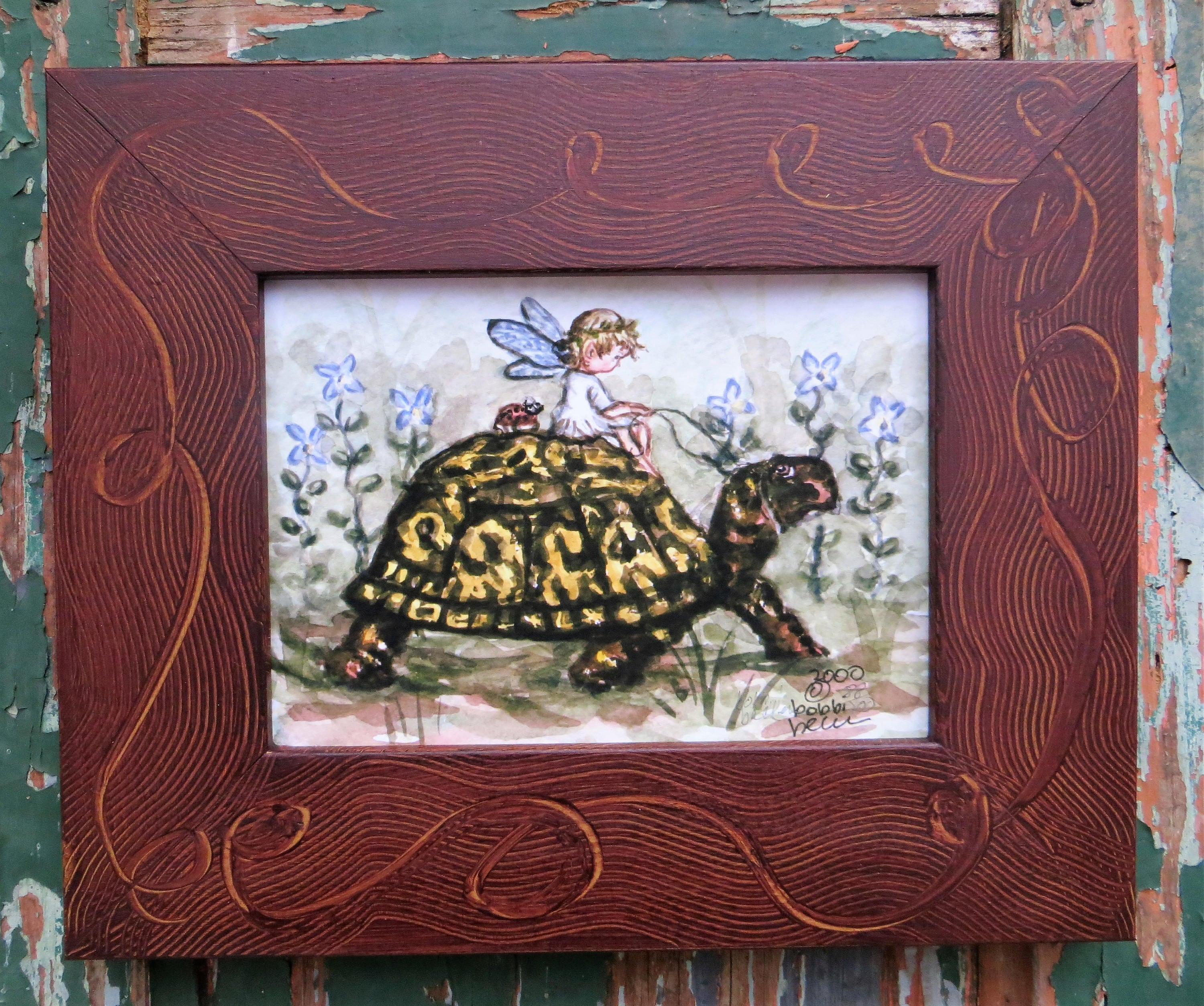 Fairy, turtle, Spring print, wildflowers, girls room decor,