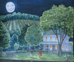 Summer, Summer night, Fireflies, lightning bugs, Watercolor print, Old House, farm life,  Country