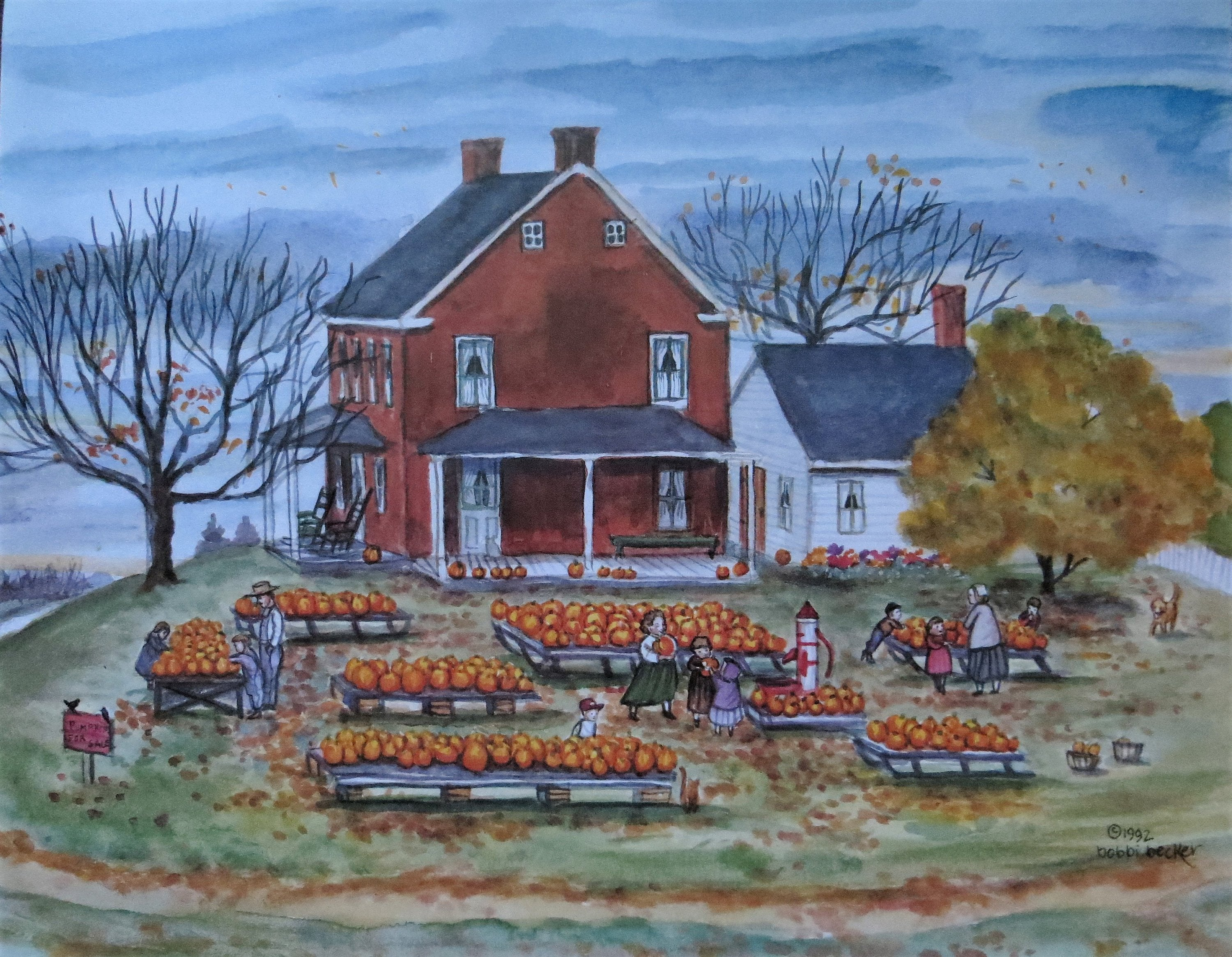 Pumpkins, Pumpkins print, Fall print , Fall decor, Pumpkin Farm, Brick Farmhouse, Rustic, Farm House