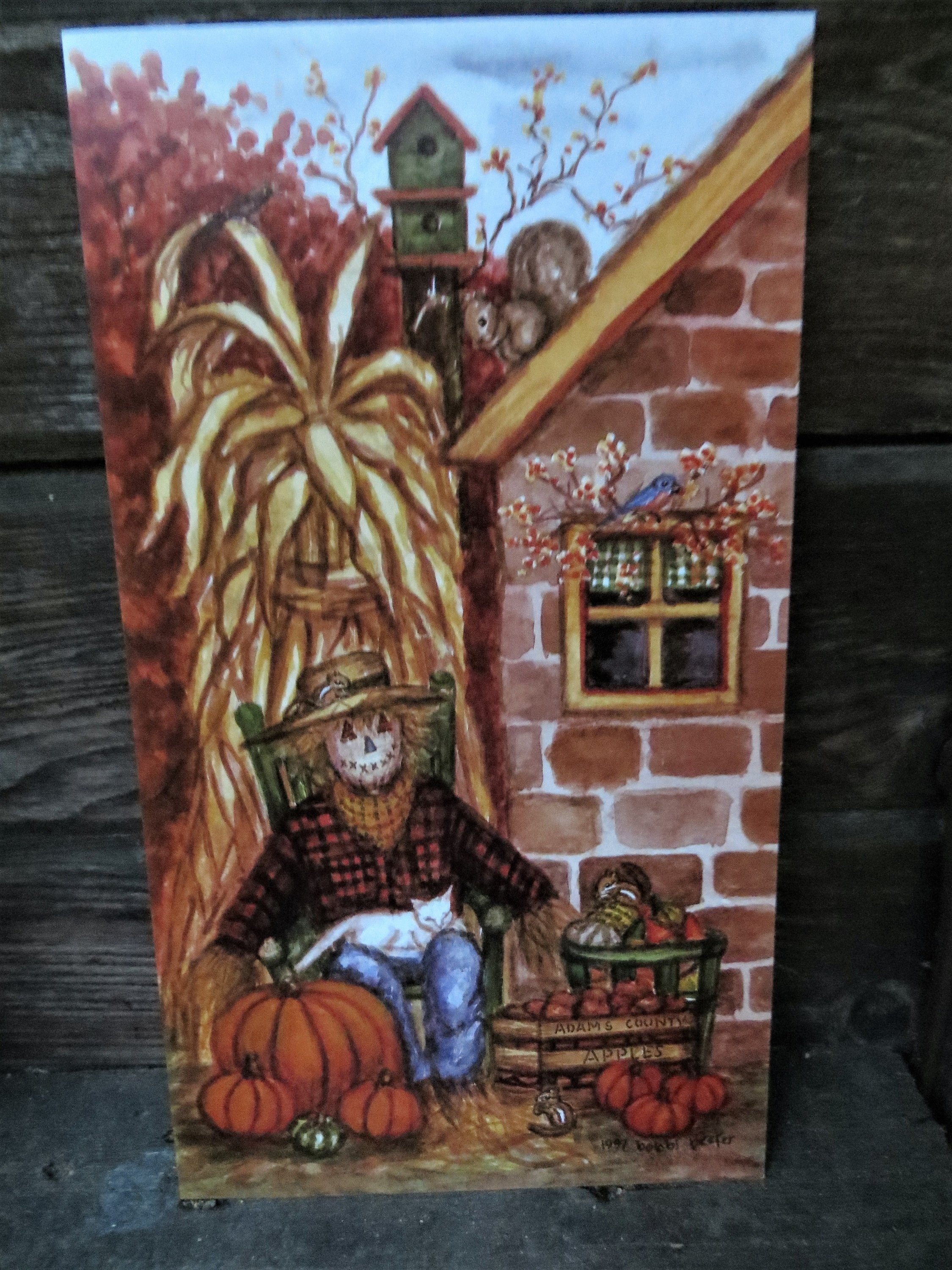 Scarecrow by the Stone Summer Kitchen, Pumpkins, Fall decor, Apples, Fall Trees, Fall print, Gourds