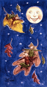 Fairies, Fall decor, Fairies in the Woods, Watercolor print, Fairies in Fall, Fall leaves Full Moon