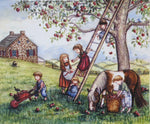 Apples, Apple picking,Kids picking apples, Rustic Farmhouse Decor, Fall print