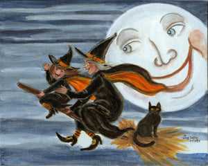 Grandma' Teaching me How to Fly, Witch, Halloween decor, Full moon Witch on broomstick Spooky night