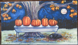 Pumpkins on a bench, Fall decor, Fall print, Pumpkins,