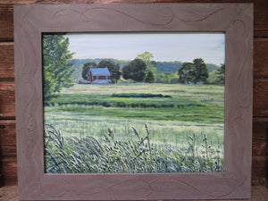 Fields on Group Mill Road, Landscape Painting, Farm, Field, Farmhouse, Country, Wheat Fields,