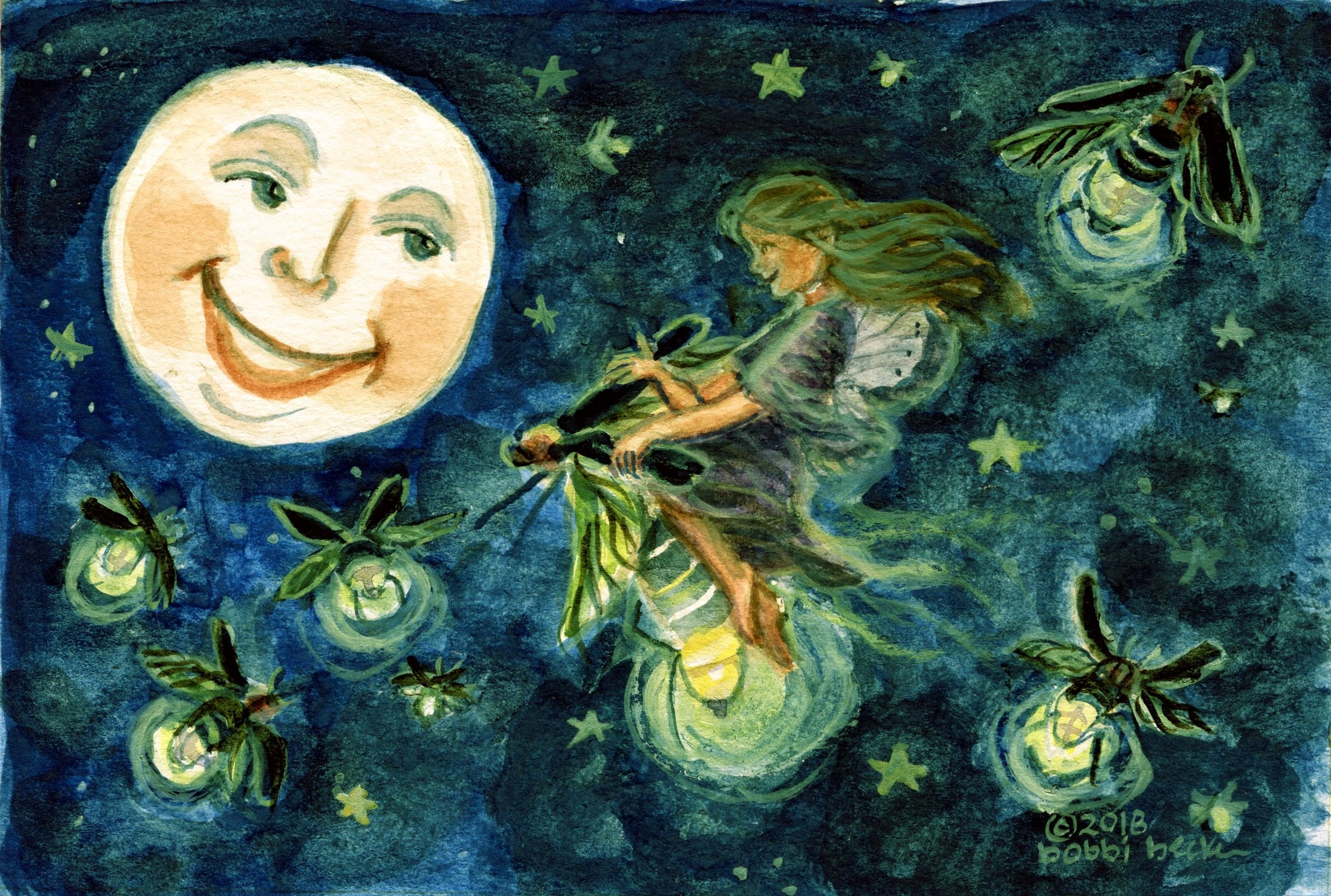 Lightning bugs, Fireflies, Full Moon, Fairy, Summer, bobbi becker, watercolor print