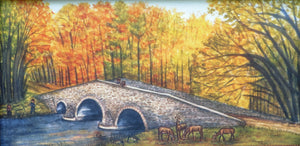 Humpback Bridge, Stone Bridge, Bridges of PA, Fall Scene, York Springs, PA, Fishing scene, Deer