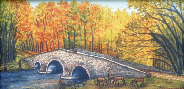 """Fall afternoon at the Humpback Bridge ,York Springs, PA"" 7x14"