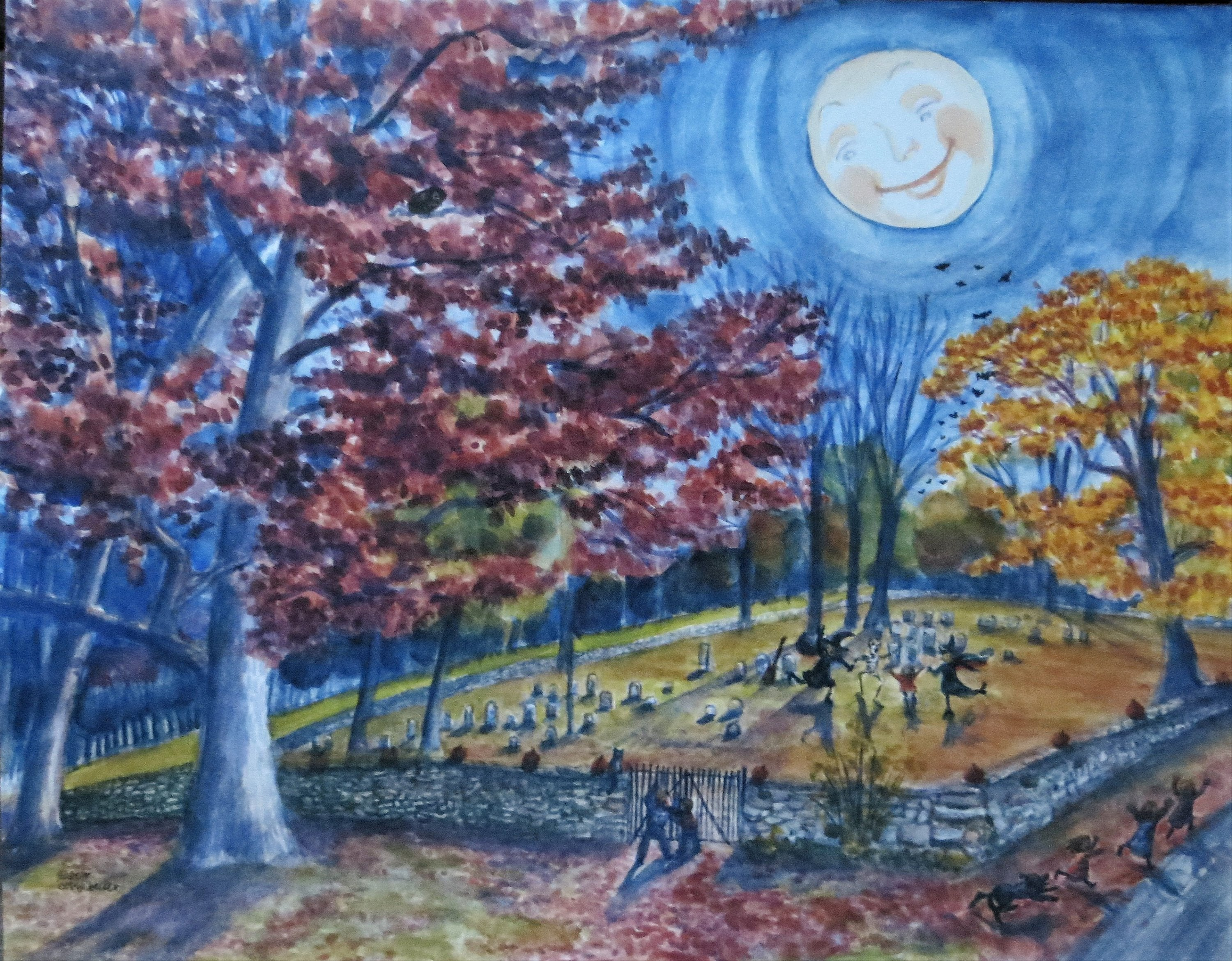 Graveyard, Spooky graveyard, bobbi becker, Witches, Full Moon night Watercolor print Cemetery print