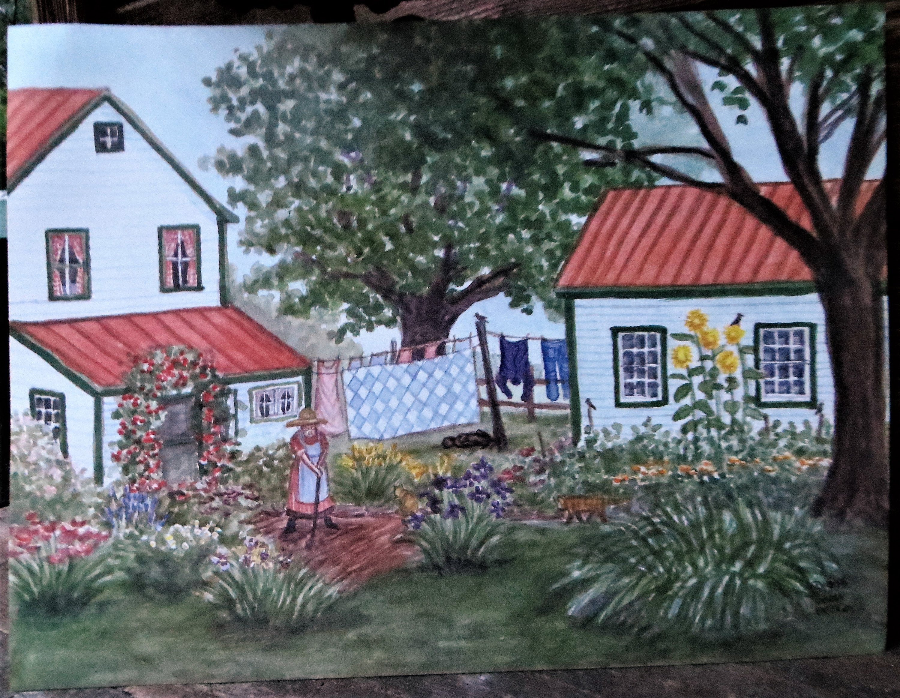 Grandmas garden, gardening, old farmhouse, garden lover, sunflowers, laundry on the line