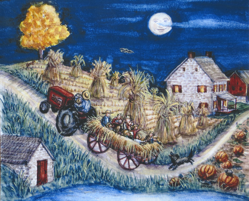 Hayride, bobbi becker print, Fall decor, tractor, Fall Fun