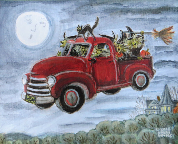 Witch, Witches, Pick up truck, Halloween, bobbi becker, Halloween print