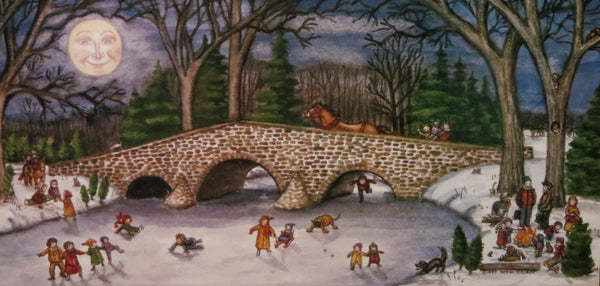 """Skating at the New Oxford  Humpback Bridge""   7x14"