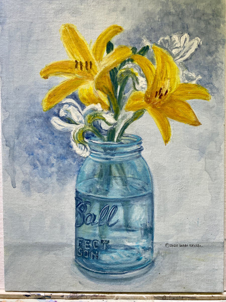 Day Lilies and White Irises in Mason Jar - Print