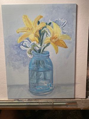 Day Lilies and White Irises in Mason Jar - Original Artwork - No Discounts may be applied