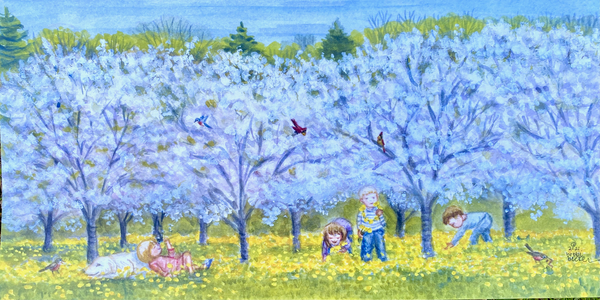 """Kids Playing In the Orchard""  7""x14"""