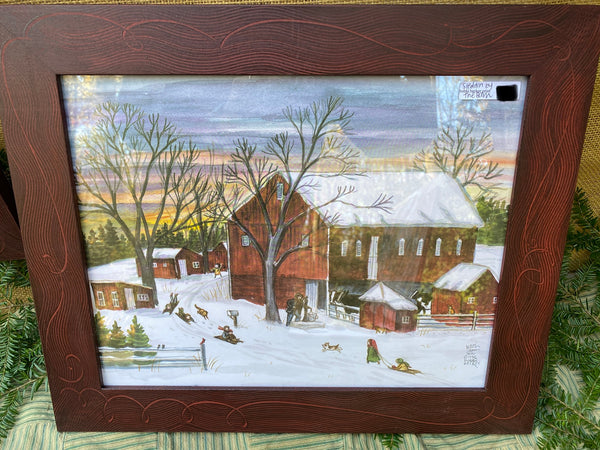 "Sledding by the Barn 11"" x 14"""