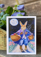 Easter Bunny with Basket of Eggs and Pussy Willow Easter card