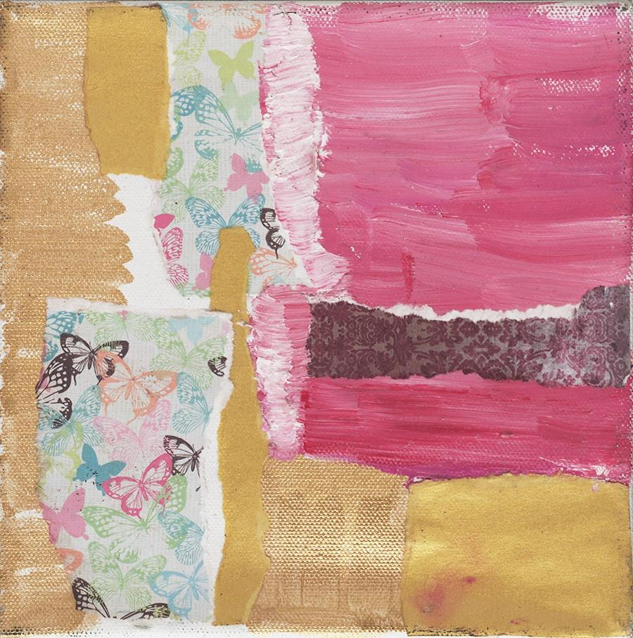 "ABSTRACT PINK Magic #2  10""x10""Original Mixed Media on Canvas"