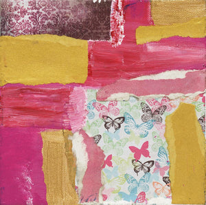 "ABSTRACT PINK Magic #1  8""x8"" Original Mixed Media on Canvas"