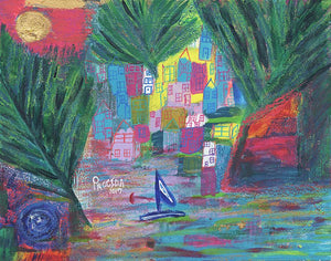 "Original Procida Italy 11""x14"" Original Painting on Aqua Board"