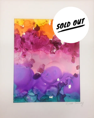 SOLD OUT $40 Rainbow Bubbles Alcohol ink on Yupo Paper