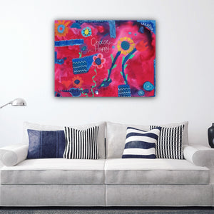 Choose Happy Giclee Print, Colorful Art, Happy Art