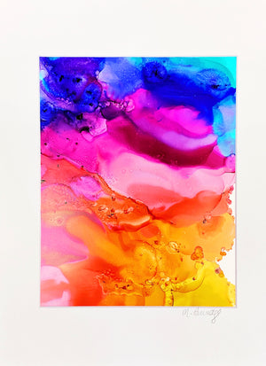 "SOLD OUT Bliss Original 9""x12"" Alcohol Ink Art on Yupo Paper"