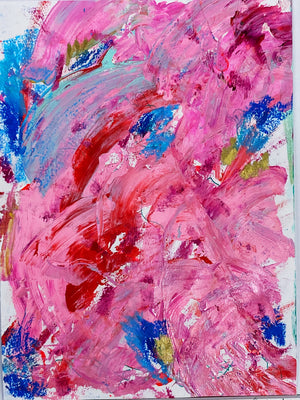 "Original Pink Modge Podge #2 8""x10"" Acrylic Painting on Paper"