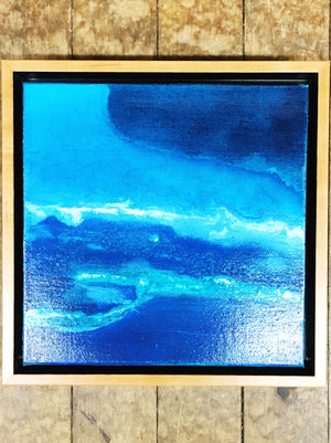 "Plum Island #2 10""x10"" Original Painting; Acrylic on Canvas with Honey Maple Floater Frame"