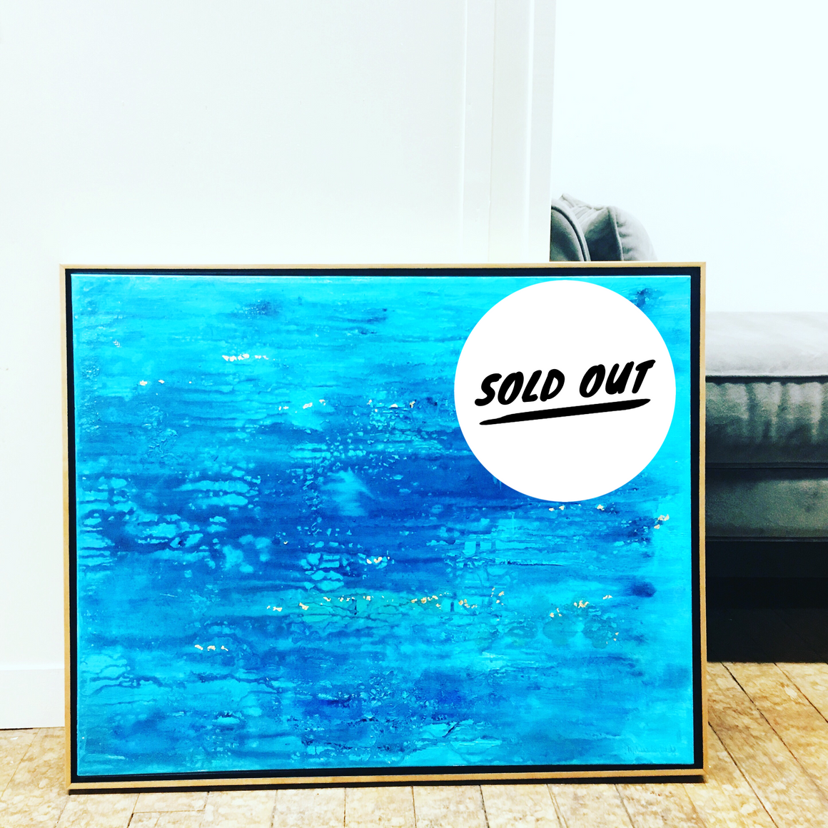 "SOLD OUT Turquoise Delight 24""x30"" Original Painting in Honey Maple Floating Frame"