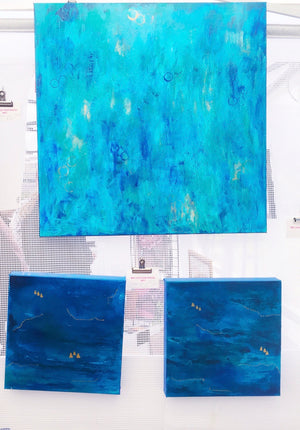 "Ocean Series #2  12""x12"" Original Acrylic on Canvas (Photo on Right)"