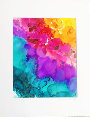 SOLD OUT $40 Rainbow Lover Original Alcohol Ink Art on Yupo Paper