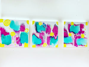 "Triptych ""Merry Go Round #2"" 12""x12"" Original Ink/Acrylic on Canvas"