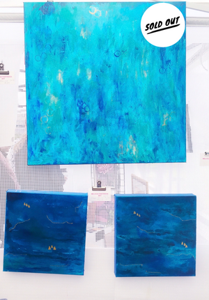 "Ocean Series #1  12""x12"" Original Acrylic on Canvas (Photo on Left)"