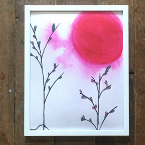 "Pink Super Moon 8""x10"" with White Metal Frame"