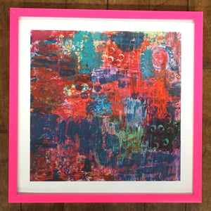 "SOLD OUT $50 10""x10"" Archival Giclee Print with Pink Metal Frame"