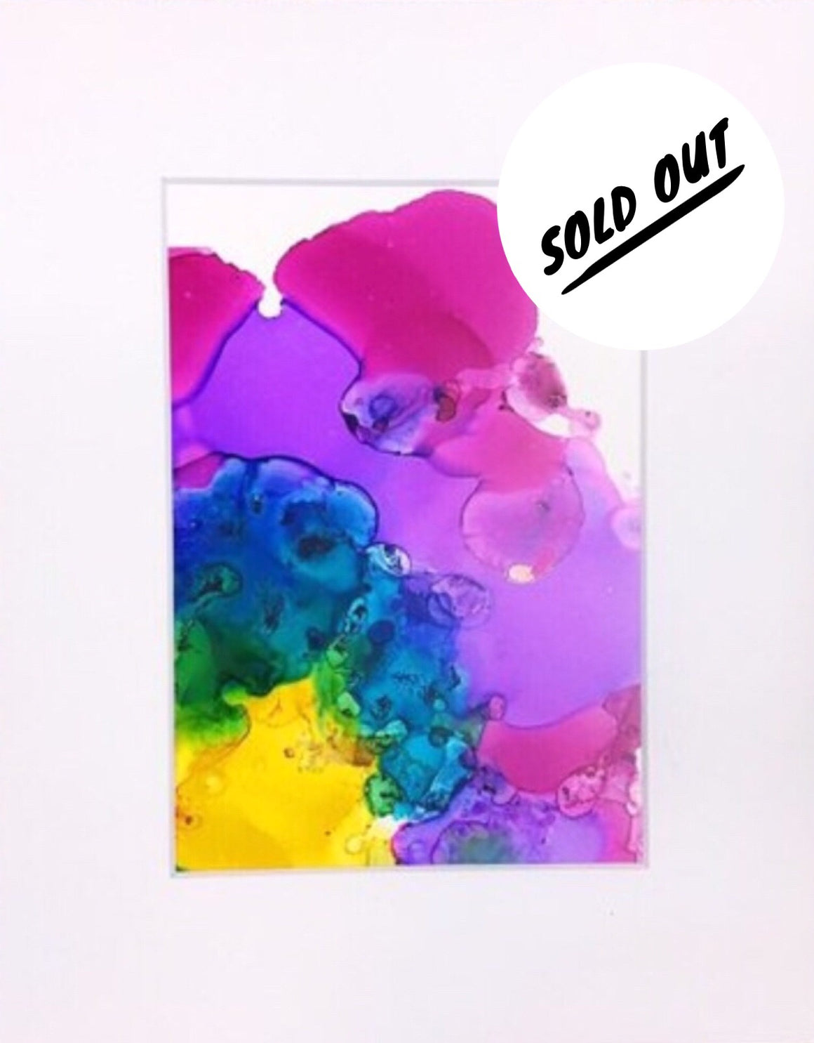 SOLD OUT Rainbow Splash Alcohol Ink on Yupo Paper