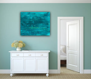 Turquoise Wall Art, Ocean Inspired Art, Abstract Expressionism, Happy Art