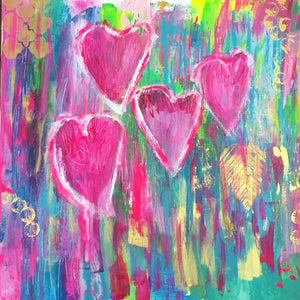 "Love is Love 24""x24"" Original Painting on Canvas with Honey Maple Floater Frame"