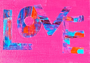 "SOLD OUT Love Original 5""x7"" Mini Happy Art on Flat Canvas"