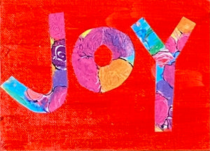 "SOLD OUT Joy Original 5""x7"" Mini Happy Art on Flat Canvas"
