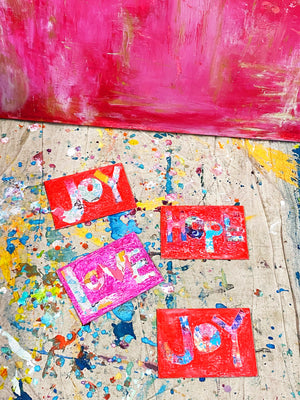 "Love Original 5""x7"" Mini Happy Art on Flat Canvas"