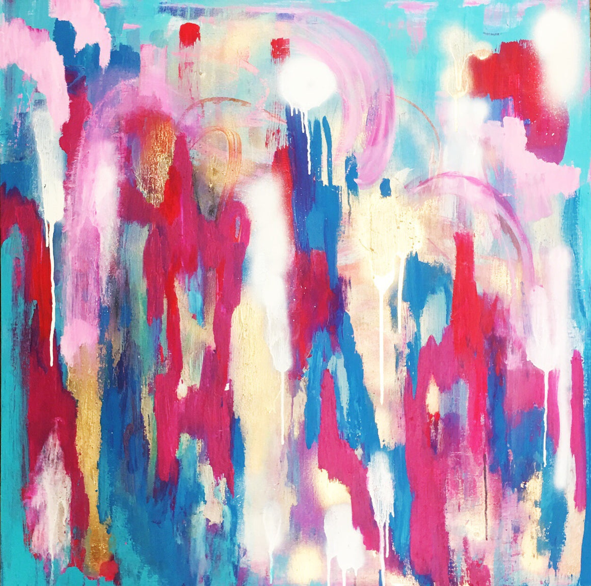 "Unicorn Kisses 36""x36"" Original Painting on Canvas"